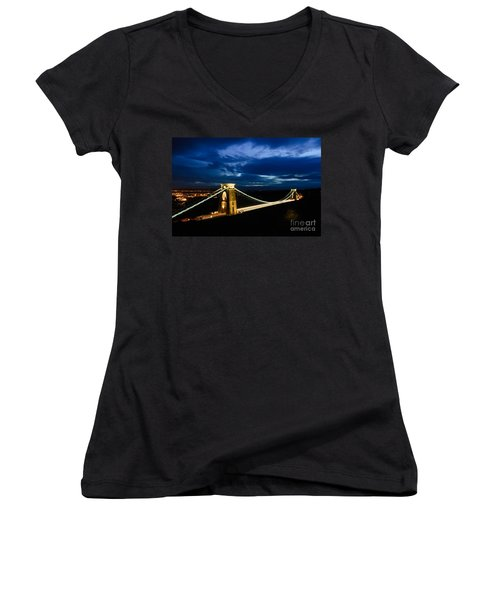 Clifton Suspension Bridge, Bristol. Women's V-Neck T-Shirt (Junior Cut) by Colin Rayner