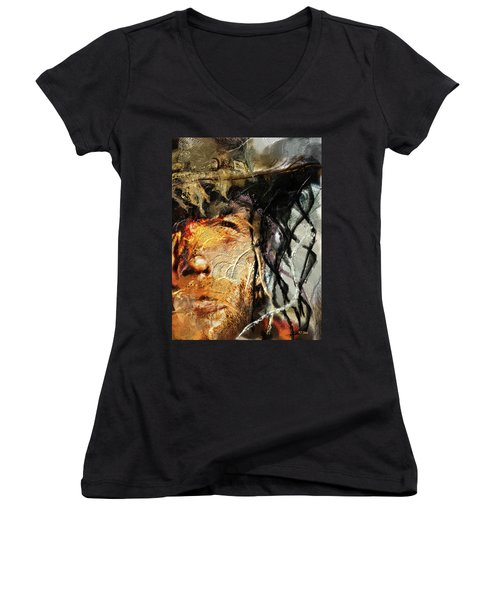 Clint Eastwood Women's V-Neck T-Shirt (Junior Cut) by Michael Cleere
