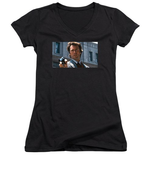 Clint Eastwood With 44 Magnum Dirty Harry 1971 Women's V-Neck