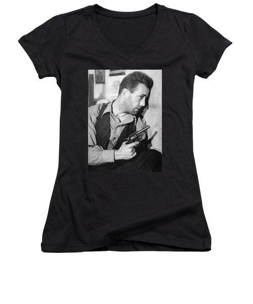 Close-up Up Of Humphrey Bogart As Duke Mantee With Gun The Petrified Forest 1936 Women's V-Neck