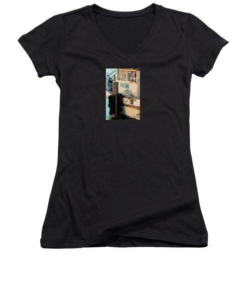 Women's V-Neck T-Shirt (Junior Cut) featuring the photograph Closed For Christmas by Joe Jake Pratt