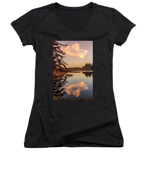 Cloud On Cranberry Lake Women's V-Neck T-Shirt (Junior Cut) by Tony Locke