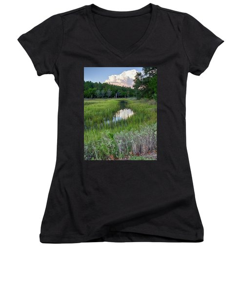 Women's V-Neck T-Shirt (Junior Cut) featuring the photograph Cloud Over Marsh by Patricia Schaefer