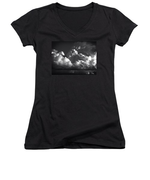 Women's V-Neck T-Shirt (Junior Cut) featuring the photograph Cloud Power Over The Lake by John Norman Stewart