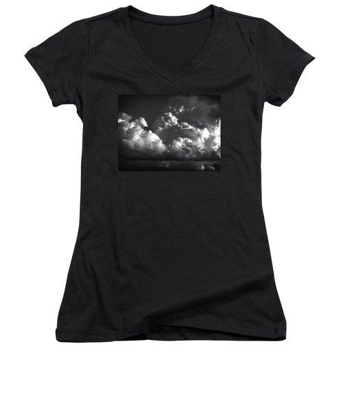 Cloud Power Over The Lake Women's V-Neck T-Shirt