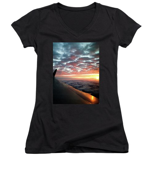 Cloud Sunrise Women's V-Neck T-Shirt (Junior Cut) by Josy Cue