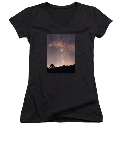 Women's V-Neck T-Shirt (Junior Cut) featuring the photograph Clouds And Milky Way by Wanda Krack