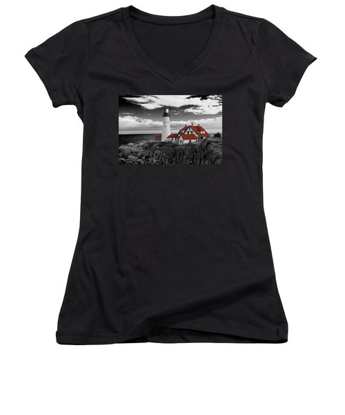 Clouds Over Portland Head Lighthouse 3 - Bw Women's V-Neck T-Shirt