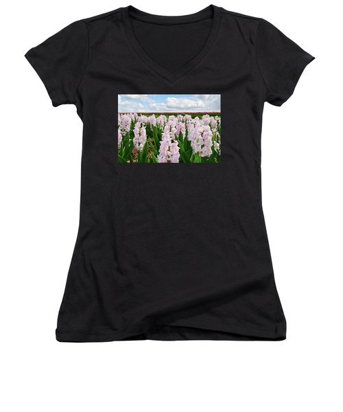 Clouds Over The Pink Hyacinth Field Women's V-Neck T-Shirt