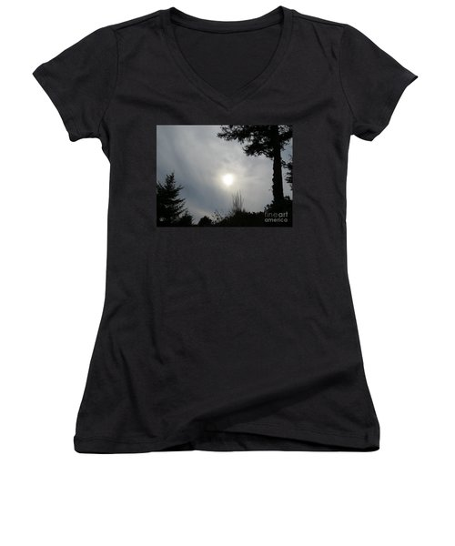 Women's V-Neck T-Shirt (Junior Cut) featuring the photograph Cloudy Sun by Michele Penner