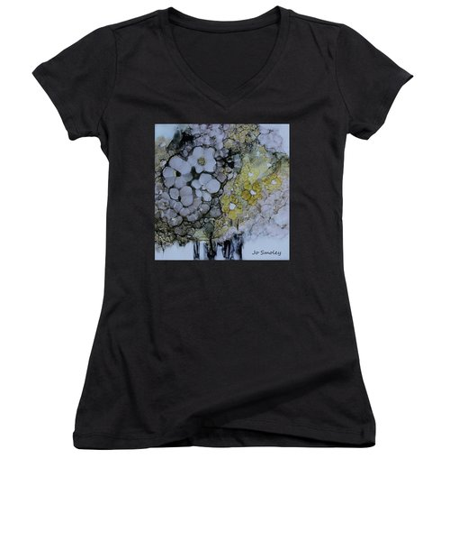 Women's V-Neck T-Shirt (Junior Cut) featuring the painting Cloudy With A Chance Of Sunshine by Joanne Smoley