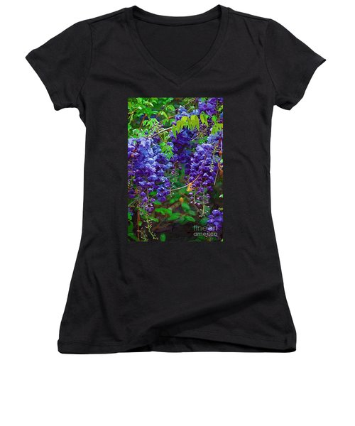 Women's V-Neck T-Shirt (Junior Cut) featuring the photograph Clusters Of Wisteria by Donna Bentley