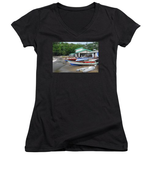 Women's V-Neck T-Shirt featuring the photograph Coast Line by Gary Wonning