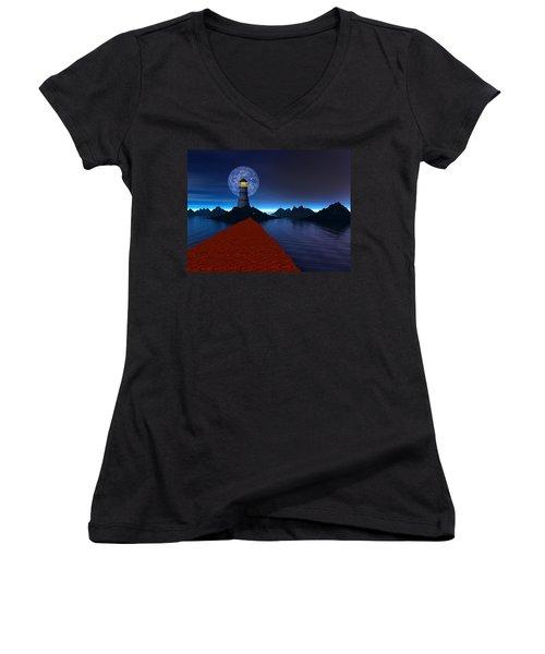 Coast Women's V-Neck T-Shirt (Junior Cut) by Mark Blauhoefer