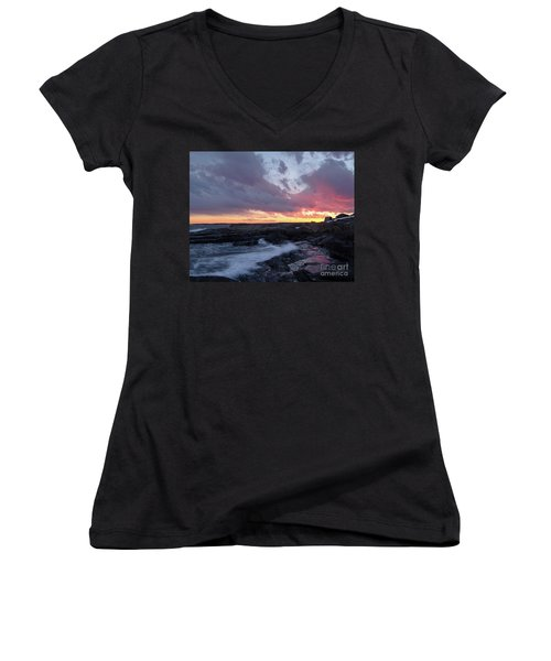Coastal Sunset Cape Neddick - York Maine  -21056 Women's V-Neck