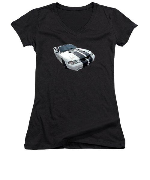 Cobra Mustang Convertible Women's V-Neck T-Shirt (Junior Cut) by Gill Billington