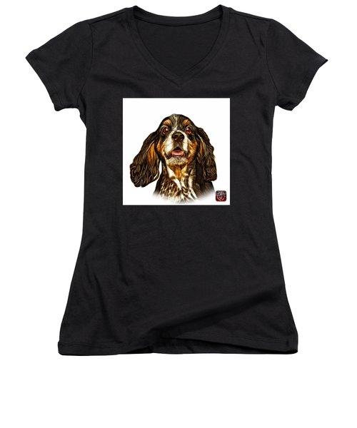 Cocker Spaniel Pop Art - 8249 - Wb Women's V-Neck T-Shirt