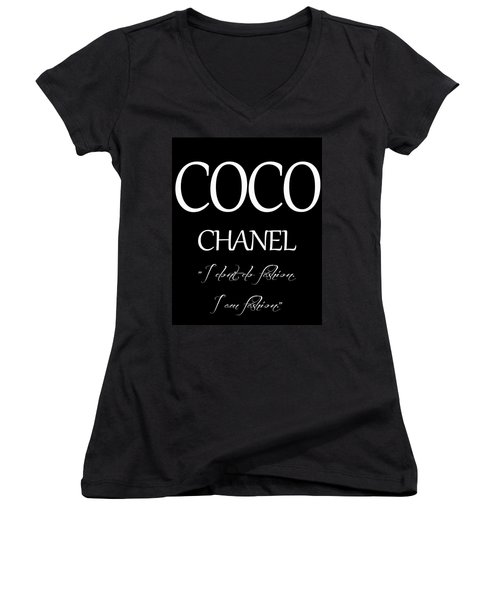 Women's V-Neck featuring the digital art Coco Chanel Quote by Dan Sproul