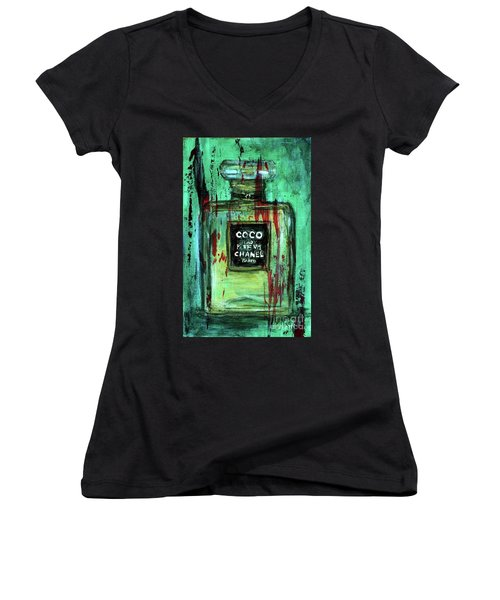 Women's V-Neck T-Shirt (Junior Cut) featuring the painting Coco Potion by P J Lewis