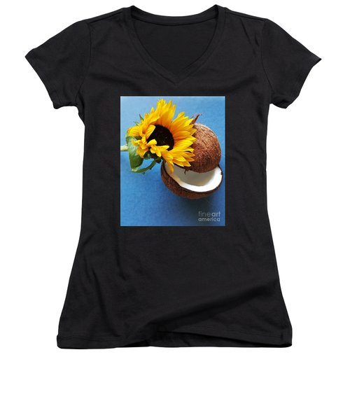 Coconut And Sunflower Harmony Women's V-Neck T-Shirt (Junior Cut) by Jasna Gopic
