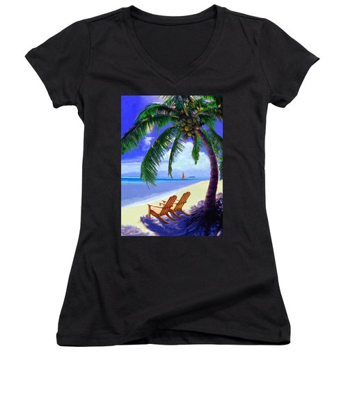 Coconut Palm Women's V-Neck T-Shirt (Junior Cut) by David  Van Hulst