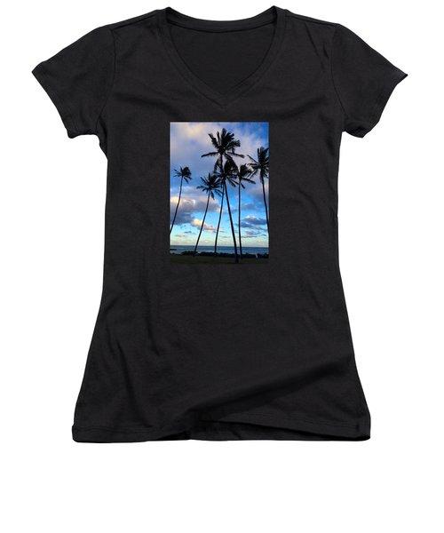 Women's V-Neck T-Shirt (Junior Cut) featuring the photograph Coconut Palms by Brenda Pressnall
