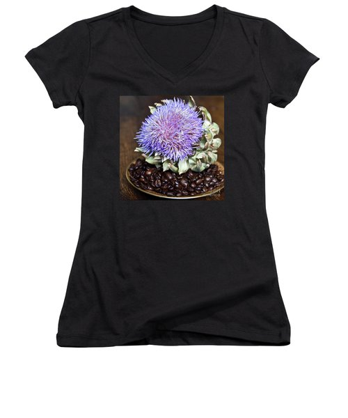 Coffee Beans And Blue Artichoke Women's V-Neck