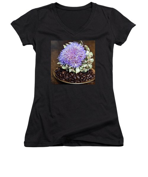 Coffee Beans And Blue Artichoke Women's V-Neck (Athletic Fit)