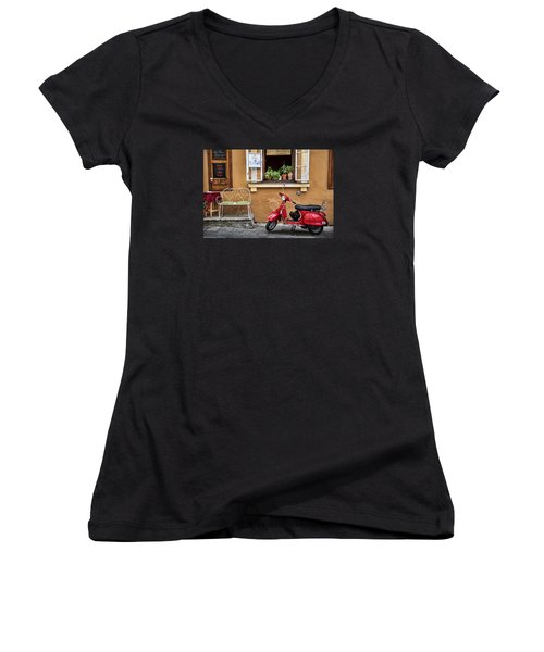 Coffee To Go Women's V-Neck T-Shirt (Junior Cut) by James David Phenicie