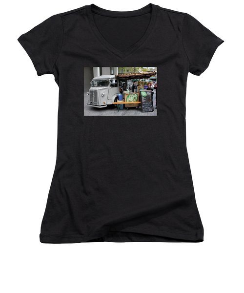 Coffee Truck Women's V-Neck T-Shirt (Junior Cut) by Christin Brodie
