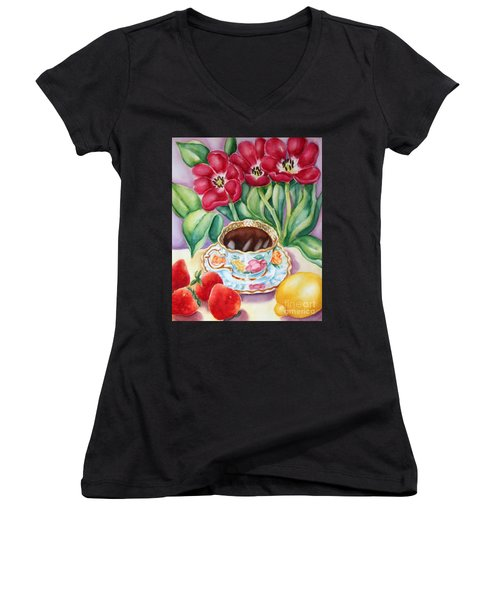 Coffee With Flavour Women's V-Neck T-Shirt (Junior Cut) by Inese Poga