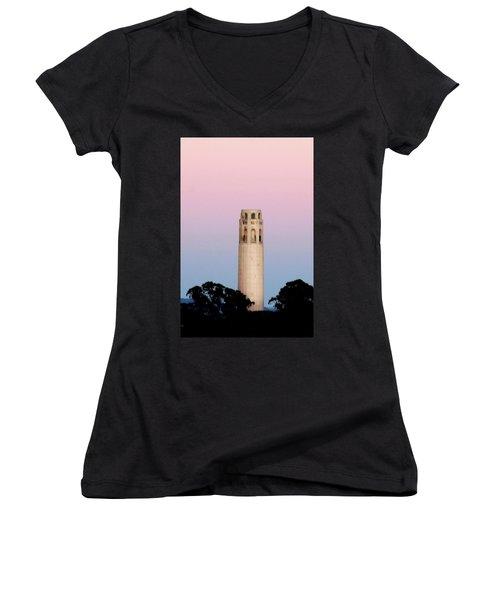 Coit Tower At Sunset Women's V-Neck T-Shirt