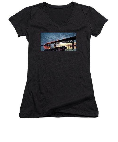 Coleman Bridge Reflections Women's V-Neck T-Shirt