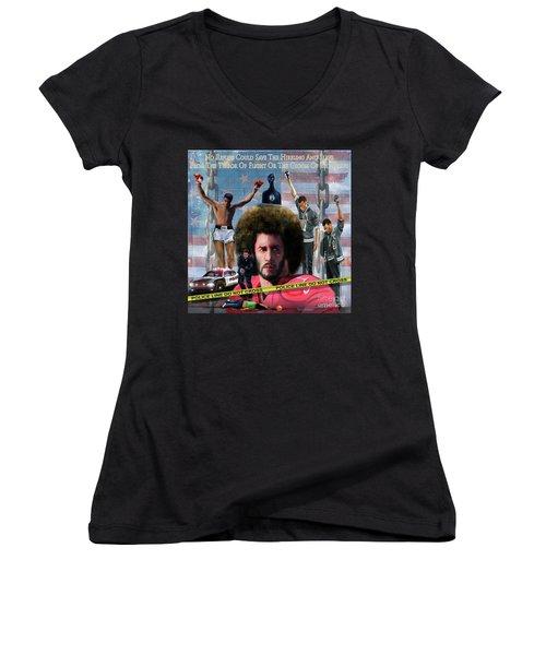 Colin Kaepernick Amongst The Brave Few 2a Women's V-Neck T-Shirt