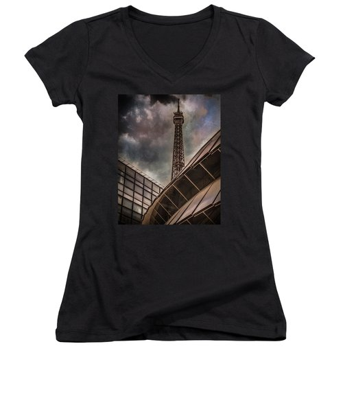 Paris, France - Colliding Grids Women's V-Neck