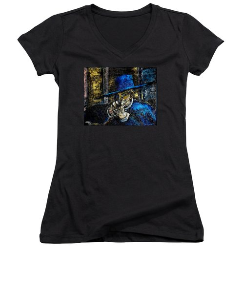 Women's V-Neck T-Shirt (Junior Cut) featuring the painting Colonel Mortimer's Shot by Seth Weaver