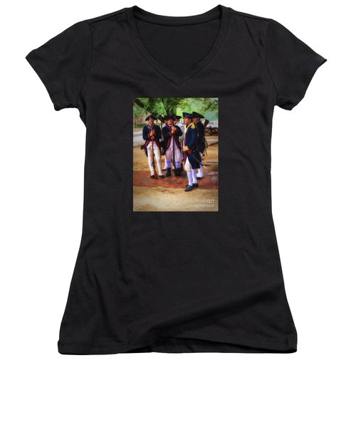 Women's V-Neck T-Shirt (Junior Cut) featuring the photograph Colonial Army  ... by Chuck Caramella