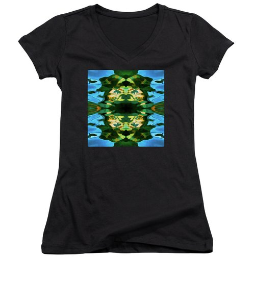 Women's V-Neck T-Shirt (Junior Cut) featuring the photograph Color Abstraction Lxv by David Gordon