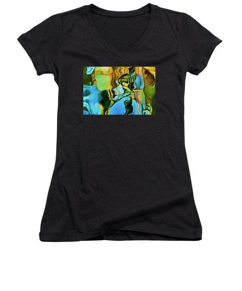 Color Abstraction Lxxiii Women's V-Neck T-Shirt (Junior Cut) by David Gordon