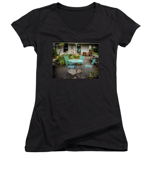 Women's V-Neck T-Shirt (Junior Cut) featuring the photograph Color At Cafe by Perry Webster