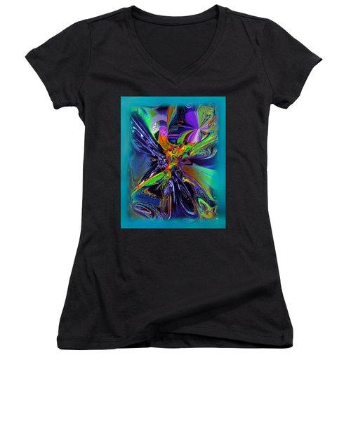 Color Burst Women's V-Neck T-Shirt (Junior Cut) by Yul Olaivar