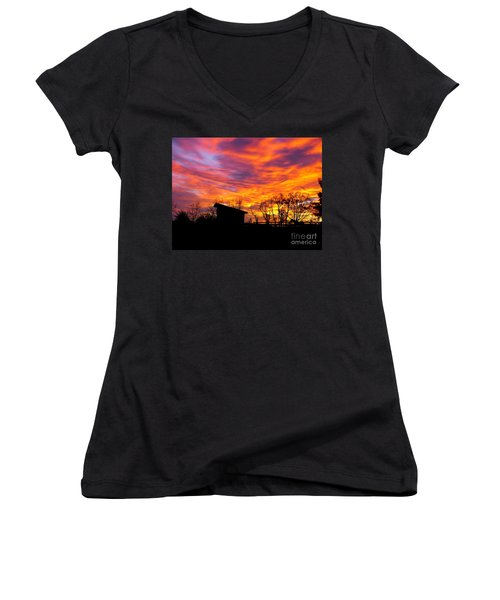 Color In The Sky Women's V-Neck (Athletic Fit)