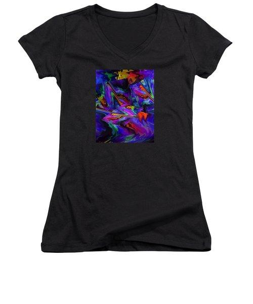 Women's V-Neck T-Shirt (Junior Cut) featuring the digital art Color Journey by Lynda Lehmann