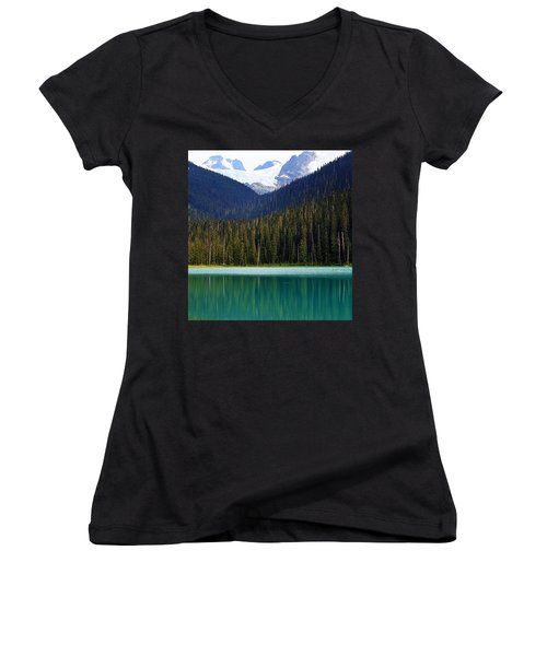 Lower Joffre Lake Women's V-Neck T-Shirt (Junior Cut) by Heather Vopni
