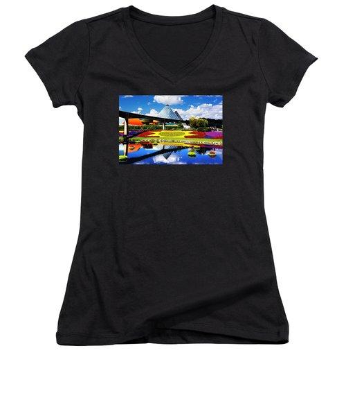 Color Of Imagination Women's V-Neck T-Shirt (Junior Cut) by Greg Fortier