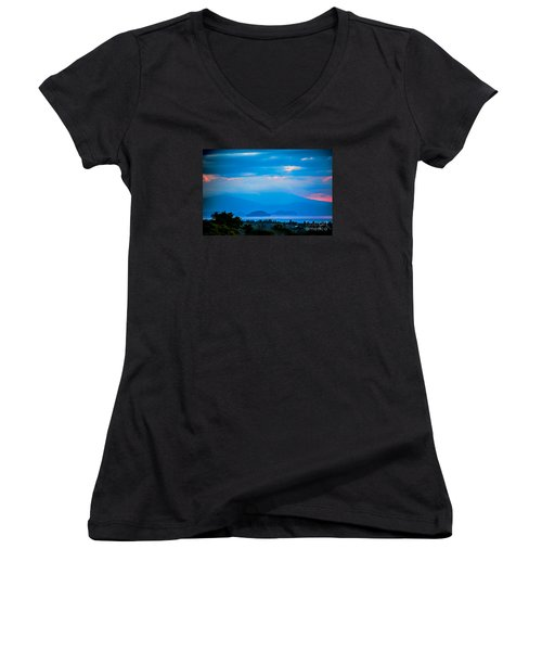 Women's V-Neck T-Shirt (Junior Cut) featuring the photograph Color Over The Lake by Rick Bragan