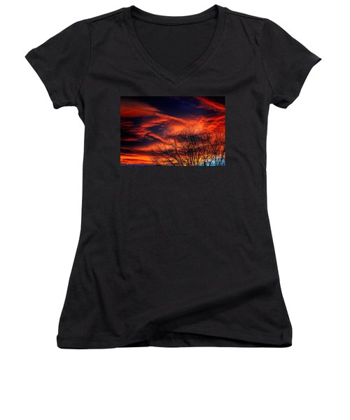 Colorado Fire In The Sky Women's V-Neck (Athletic Fit)