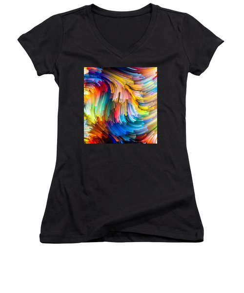 Women's V-Neck T-Shirt (Junior Cut) featuring the painting Colorful Beauty by Karen Showell
