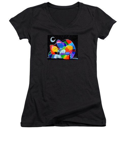 Colorful Cat In The Moonlight Women's V-Neck T-Shirt (Junior Cut) by Nick Gustafson