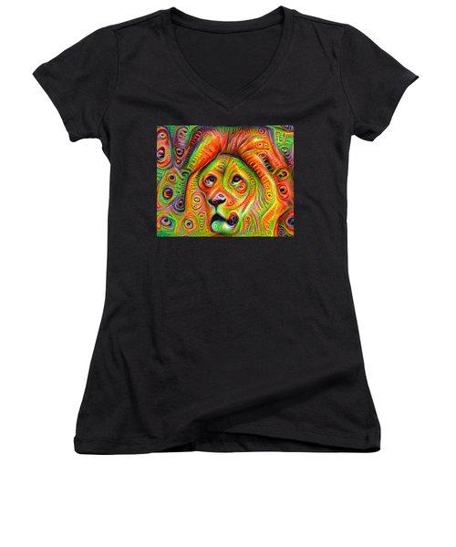Colorful Crazy Lion Deep Dream Women's V-Neck